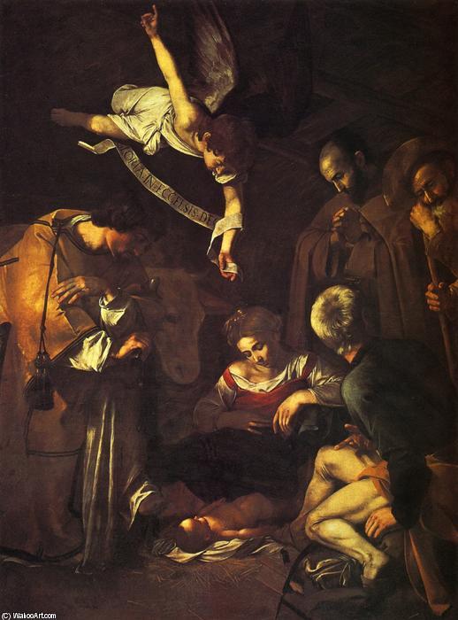 Michelangelo Merisi da Caravagio (Italia 1571-1610). Natividad con San Francisco y San Lorenzo, 1609. Óleo sobre lienzo (268x197 cm). En paradero desconocido.